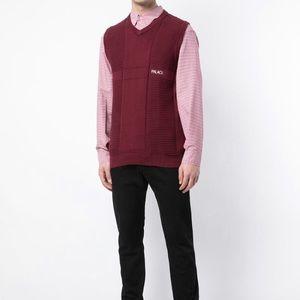 Palace wine men's knitted V-neck ribbed hem vest M